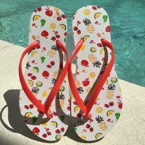 NEW GAP Women's White & Red Fruit Bowl Flip Flops